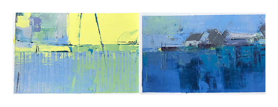 The Colors You See When You Get to the Other Side , Cold Wax & Oil, Diptych 14×22